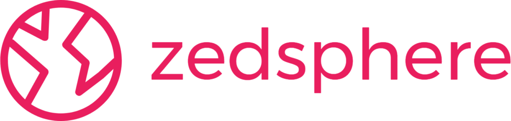 logo and zedsphere wording in dark pink